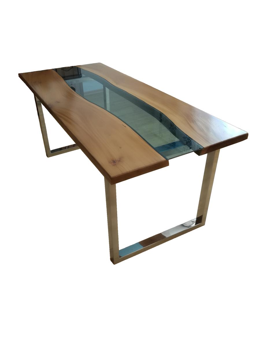 """Stół z niebieską szybą """"blue river table"""" 120x80x80cm"""